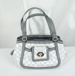 Coach 14934 Cricket Gray Canvas Leather Bag Purse